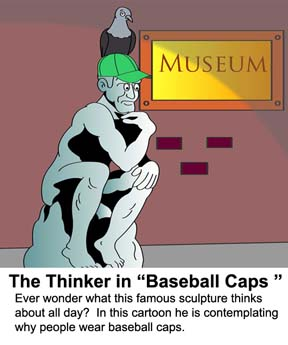 Video cartoon of a famous sculpture contemplating why people wear baseball caps