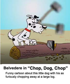 Video cartoon about a little dog with an ax  busy at working chopping up a large log.
