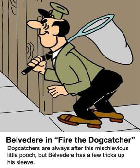 Video cartoon about a clever little dog outsmarts the dogcatcher who is pursuing him.