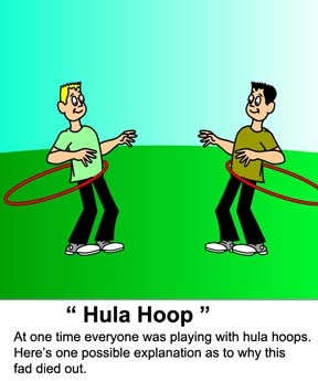 Video cartoon explains why the popular hula hoop  fad has died out.